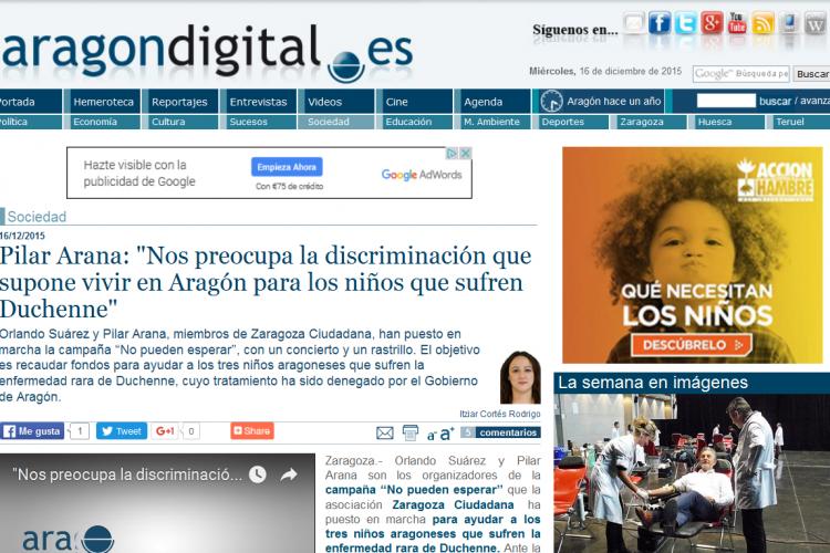 """Pilar Arana: """"Nos preocupa la discriminación que supone vivir en Aragón para los niños que sufren Duchenne"""""""